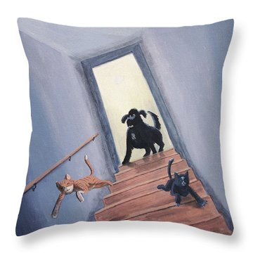 Lady Chases The Cats Down The Stairs Throw Pillow