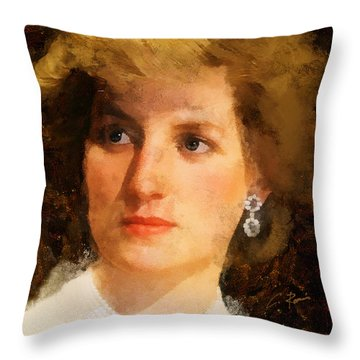 Throw Pillow featuring the digital art Lady Diana by Charlie Roman