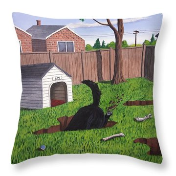 Lady Digs In The Backyard Throw Pillow