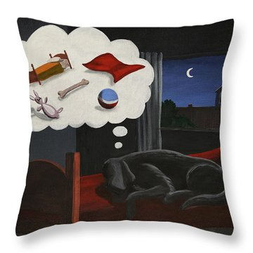 Lady Dreams About Her Favourite Things Throw Pillow
