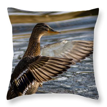 Lady Duck Throw Pillow