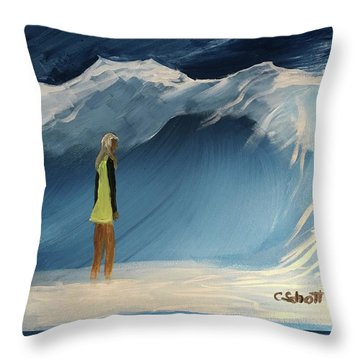 Lady Faces The Wave Throw Pillow