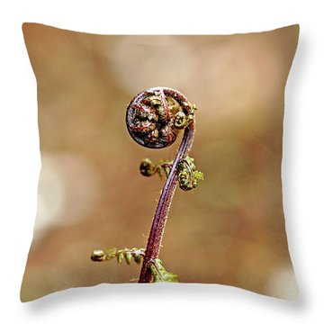 Lady Fern Spirals Throw Pillow by Debbie Oppermann