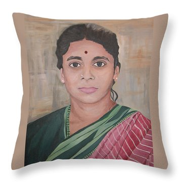 Lady From India Throw Pillow