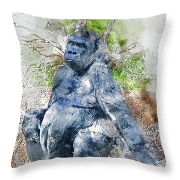 Lady Gorilla Sitting Deep In Thought Throw Pillow