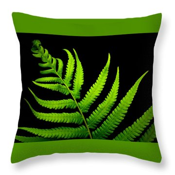 Lady Green Throw Pillow