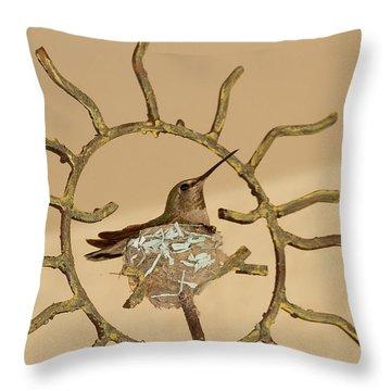 Lady Hummingbird On Her Nest Throw Pillow
