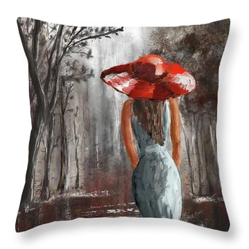 Lady In A Red Hat Throw Pillow