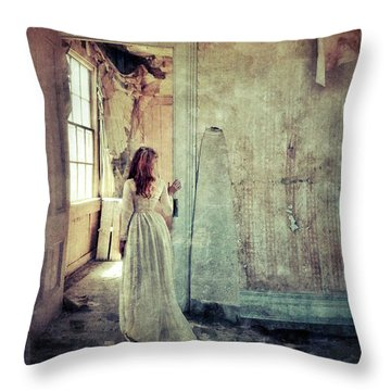 Lady In An Old Abandoned House Throw Pillow
