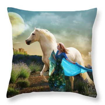 Throw Pillow featuring the digital art Lady In Blue by Melinda Hughes-Berland