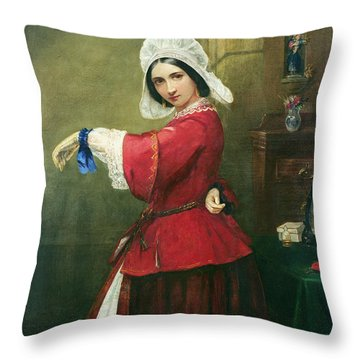 Lady In French Costume Throw Pillow by Edmund Harris Harden