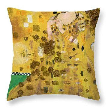 Lady In Gold Throw Pillow