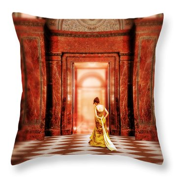 Lady In Golden Gown Walking Through Doorway Throw Pillow
