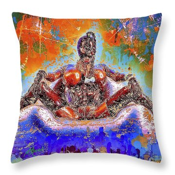 Throw Pillow featuring the mixed media Lady In Latex by Al Matra