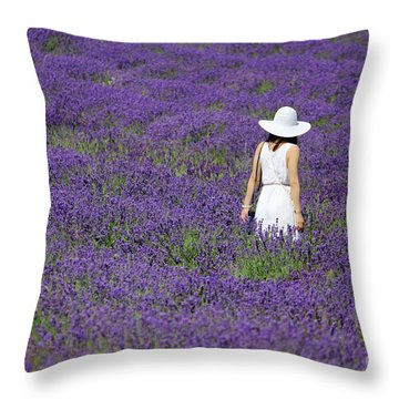 Lady In Lavender Field Throw Pillow