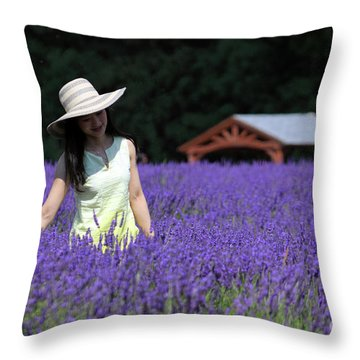 Lady In Lavender Throw Pillow