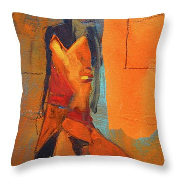 Throw Pillow featuring the painting Lady In Orange by Nancy Merkle