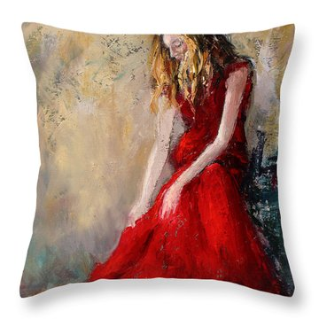 Lady In Red 2 Throw Pillow
