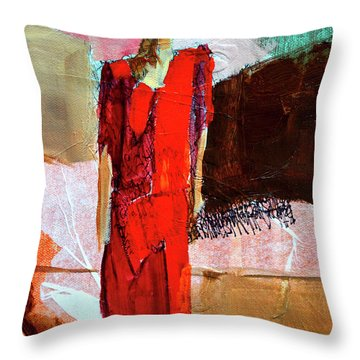Throw Pillow featuring the painting Lady In Red by Nancy Merkle