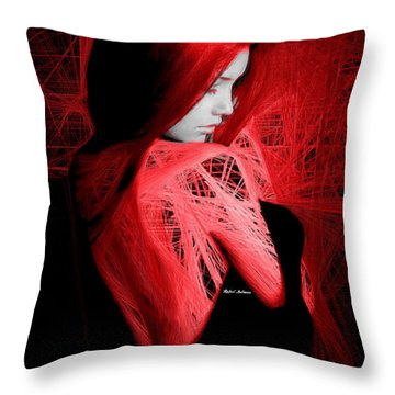 Throw Pillow featuring the digital art Lady In Red by Rafael Salazar