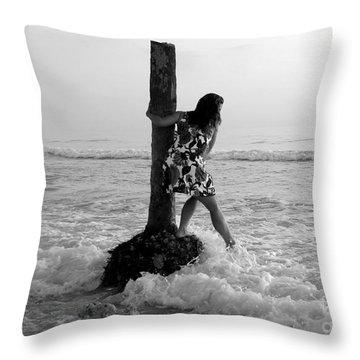 Lady In The Surf Throw Pillow by David Lee Thompson