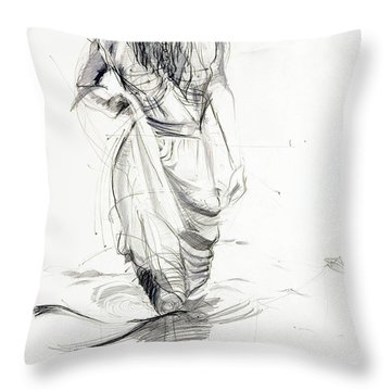 Lady In The Waters Throw Pillow
