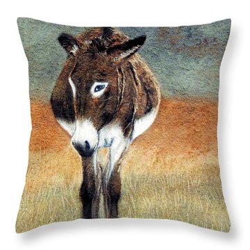 Throw Pillow featuring the pastel Lady In Waiting by Jan Amiss