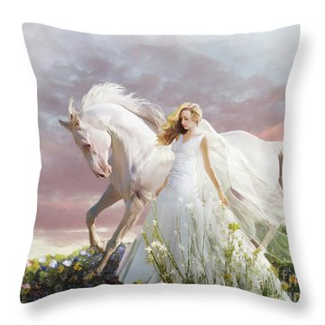 Throw Pillow featuring the digital art Lady In White by Melinda Hughes-Berland