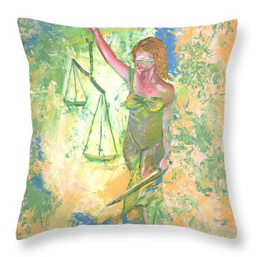 Lady Justice And The Man Throw Pillow by Peter Bonk