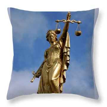 Lady Justice In Bruges Throw Pillow