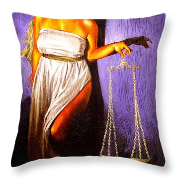 Lady Justice Long Scales Throw Pillow by Laura Pierre-Louis