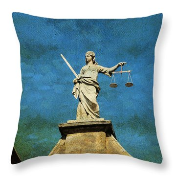 Lady Justice. Streets Of Dublin. Painting Collection Throw Pillow