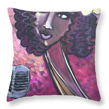 Throw Pillow featuring the painting Lady Lauren Midnight Singer by Laurie Maves ART