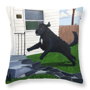 Lady Leaps The Small Front Stairs Throw Pillow
