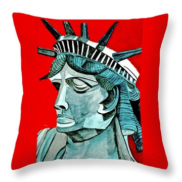 Lady Liberty Throw Pillow by Anna Porter