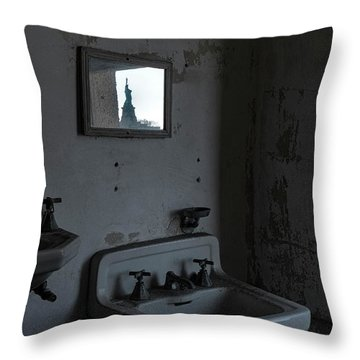 Throw Pillow featuring the photograph Lady Liberty In The Mirror by Tom Singleton
