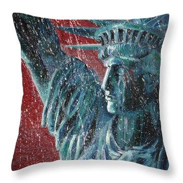 Lady Liberty In The Rain Throw Pillow by Alan Schwartz