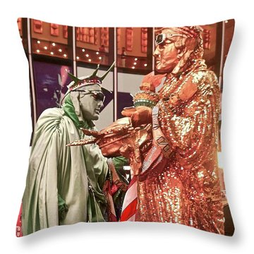 Throw Pillow featuring the painting Lady Liberty On Broadway by Joan Reese