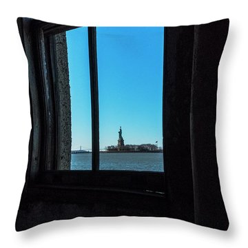 Throw Pillow featuring the photograph Lady Liberty by Tom Singleton