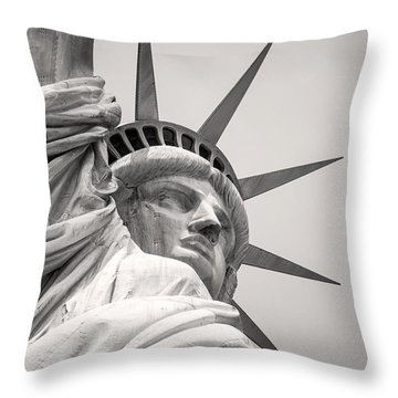 Lady Libety In Black And White Throw Pillow