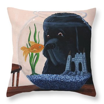 Lady Looks In The Fish Bowl For Mommy And Daddy Throw Pillow