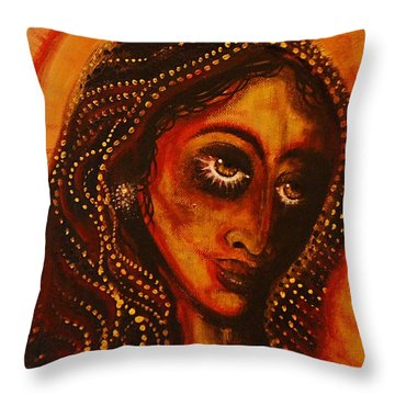 Lady Of Gold Throw Pillow