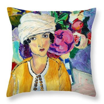 Lady Of Le Piviones Throw Pillow by Laura Botsford