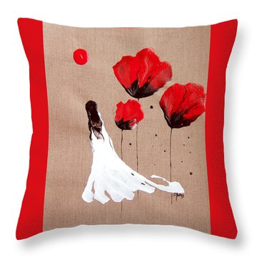Lady Of The Poppies -contemporary Abstract Woman Red Flowers Fantasy Throw Pillow by Catherine Jeltes