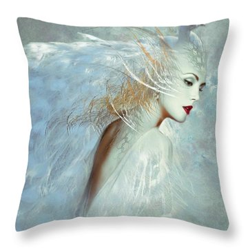 Lady Of The White Feathers Throw Pillow