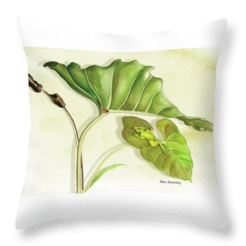 Lady On A Leaf Throw Pillow