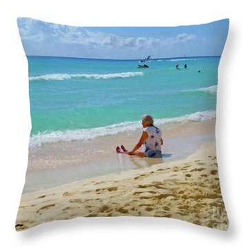 Throw Pillow featuring the digital art Lady On The Beach by Francesca Mackenney
