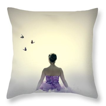 Lady On The Beach Throw Pillow by Joana Kruse