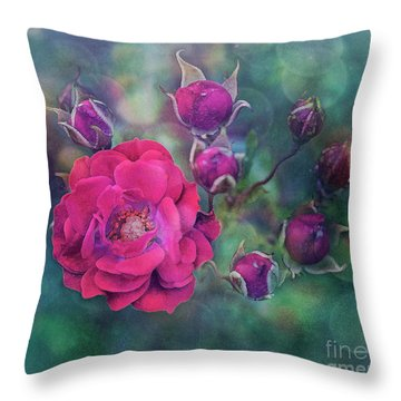 Lady Rose Throw Pillow by Agnieszka Mlicka