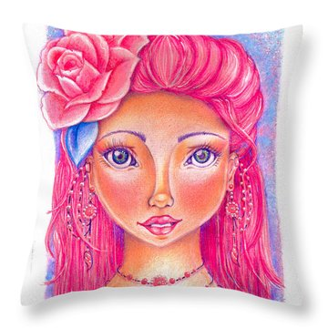 Lady Rose Throw Pillow by Delein Padilla